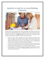 Qualities to Look For in a Good Building Contractor