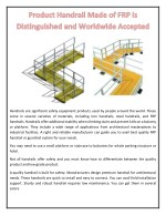 Product Handrail Made of FRP is Distinguished and Worldwide Accepted