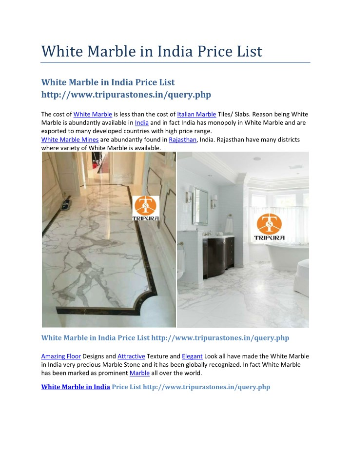 white marble in india price list n.