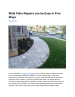 Walk Patio Repairs can be Easy in Five Ways