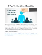 7 Tips To Hire A Good Candidate