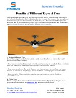 Benefits of Different Types of Fans