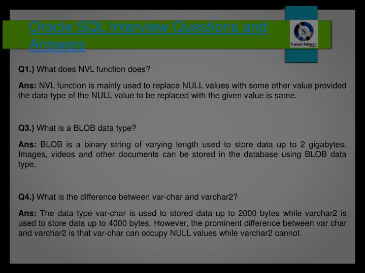 oracle sql interview questions and answers n.