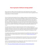 How to get job in Software testing quickly?