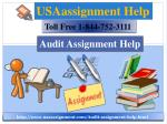 Audit Assignment Help Toll Tree:- 1-844-752-3111