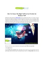 To choose the right vo ip service provider for business voip