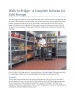 Walk-in-Fridge - A Complete Solution for Cold Storage