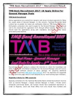 TMB Bank Recruitment 2017–18 Apply Online For General Manager Posts