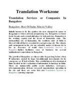Translation Services or Companies In Bangalore