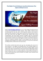 The Right Travel Software Can Revolutionize The Agent Selling Process