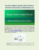Purchase Highest Quality Lithium Battery Research Instruments at Affordable Cost