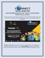 """Connect Broadband collaborates with –""""Hotstar""""-"""