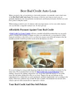 Best Bad Credit Auto Loan