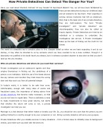 How Private Detectives Can Detect The Danger For You