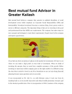 Best mutual fund Advisor in Greater Kailash