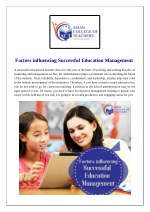 Factors Influencing Successful Education Management