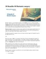 10 Benefits Of Bariatric surgery