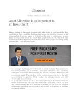 Asset Allocation is so important in an Investment