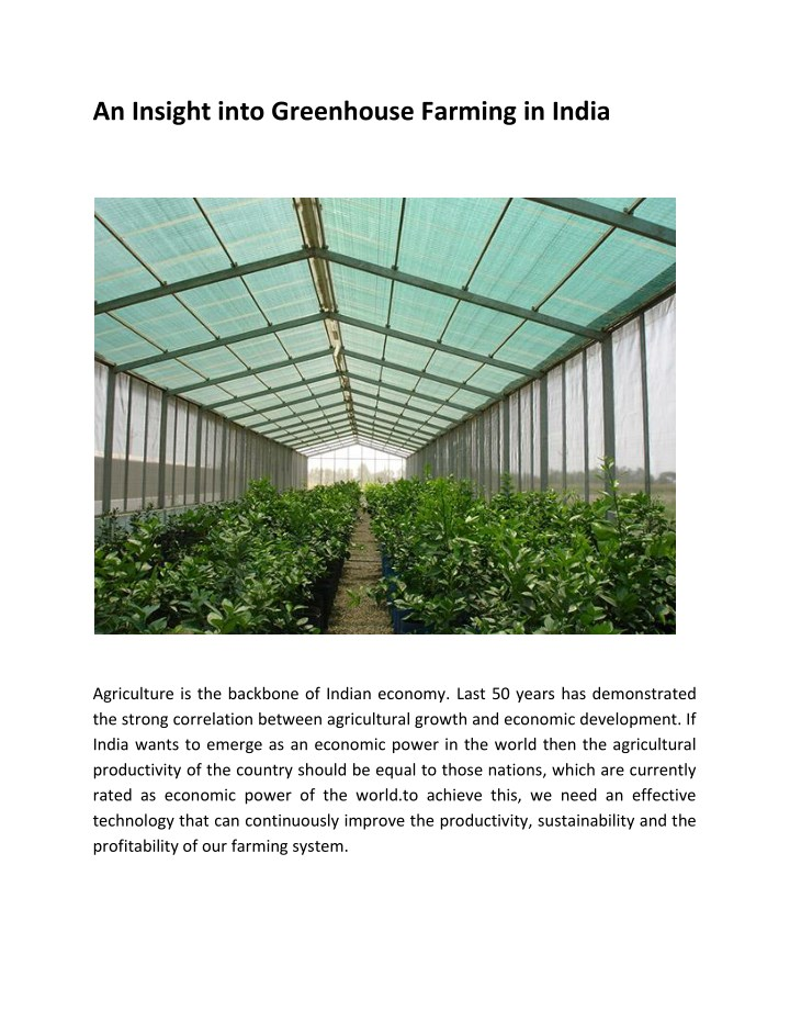 an insight into greenhouse farming in india n.