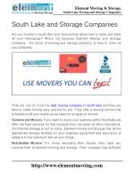 South Lake Moving and Storage Companies