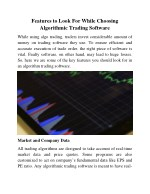 Features to Look for While Choosing Algorithmic Trading Software