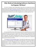 Why Medical Scheduling Software Had Been So Popular Till Now?
