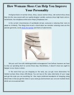 How Womans Shoes Can Help You Improve Your Personality