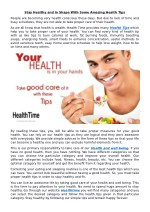 Stay Healthy and In Shape With Some Amazing Health Tips