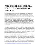 WHY SHOULD YOU SELECT A TORONTO FOOD DELIVERY SERVICE?