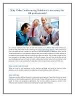 Why Video Conferencing Solutions is necessary for HR professionals?