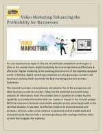 Video Marketing Enhancing the Profitability for Businesses