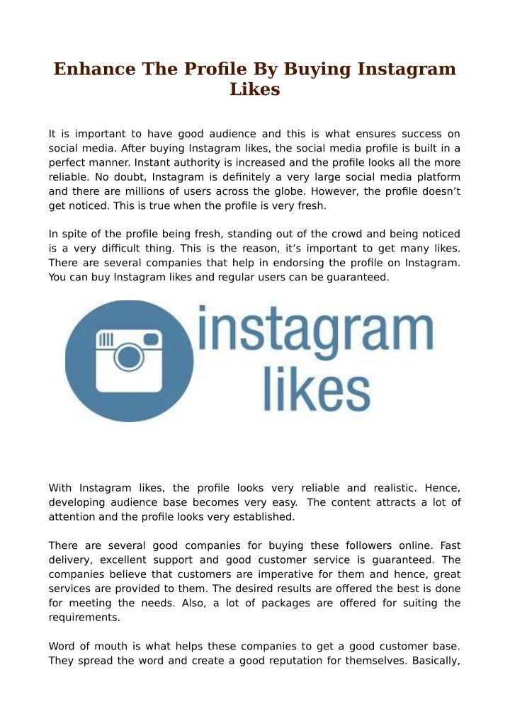enhance the profile by buying instagram likes n.