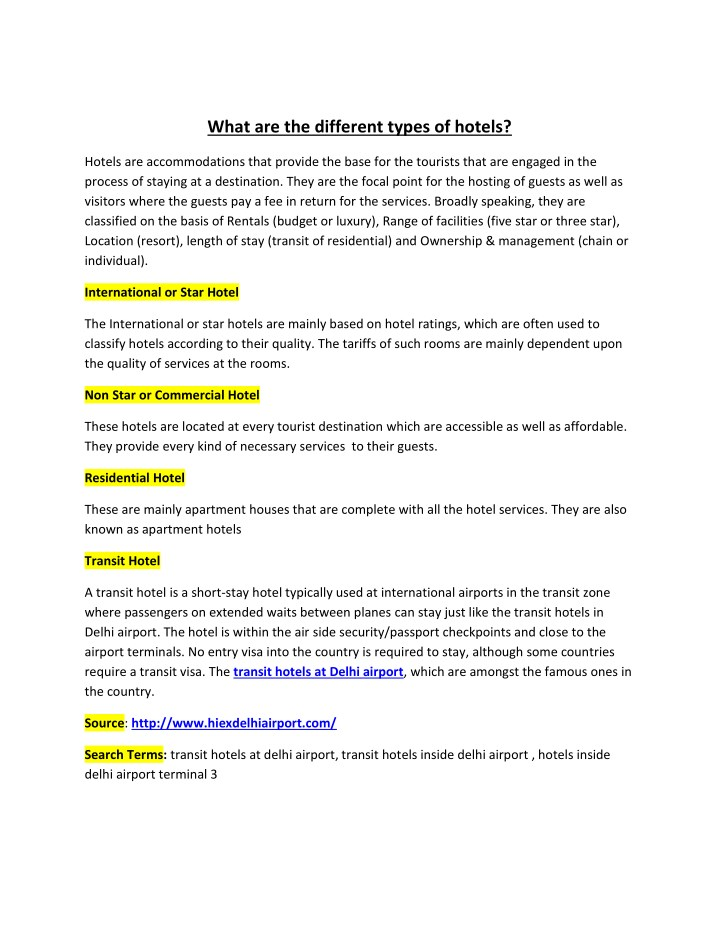 what are the different types of hotels n.