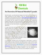An Overview Of Natural Menthol Crystals