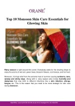 Top 10 Monsoon Skin Care Essentials for Glowing Skin