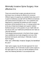 Minimally Invasive Spine Surgery: How effective it is