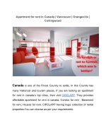 Apartment for rent in Canada | Vancouver | Orangeville | Collingwood