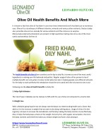 Olive Oil Health Benefits And Much More