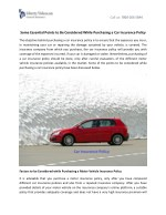 Some Essential Points to Be Considered While Purchasing a Car Insurance Policy