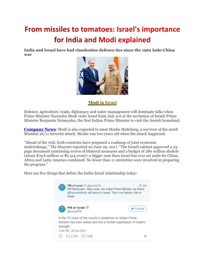 india and israel have had clandestine defence n.