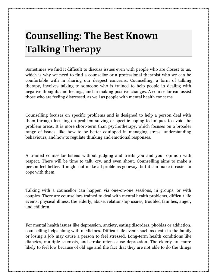 counselling the best known talking therapy n.