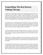 Counselling: The Best Known Talking Therapy