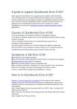 how to resolve Quickbooks error 6130?