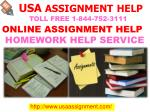 Online Assignment Help USA | Toll Free 1-844-752-3111