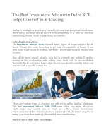 The Best Investment Advisor in Delhi NCR helps to invest in E-Trading