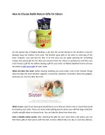 How to Choose Rakhi Return Gifts for Sisters