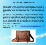 Dry Your Wet Leather Bag Fast
