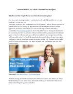 Reasons Not To Use a Part-Time Real Estate Agent