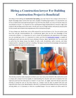 Hiring a Construction lawyer For Building Construction Project is Beneficial!