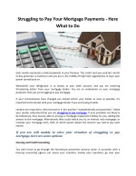 Struggling to Pay Your Mortgage Payments - Here What to Do